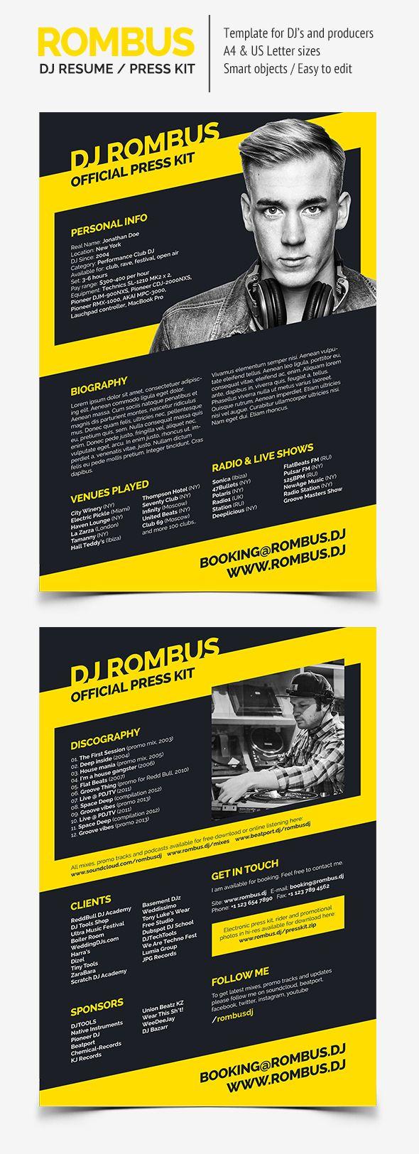 Rombus - DJ Resume / Press Kit by Serge Gray, via Behance | DJ Press ...