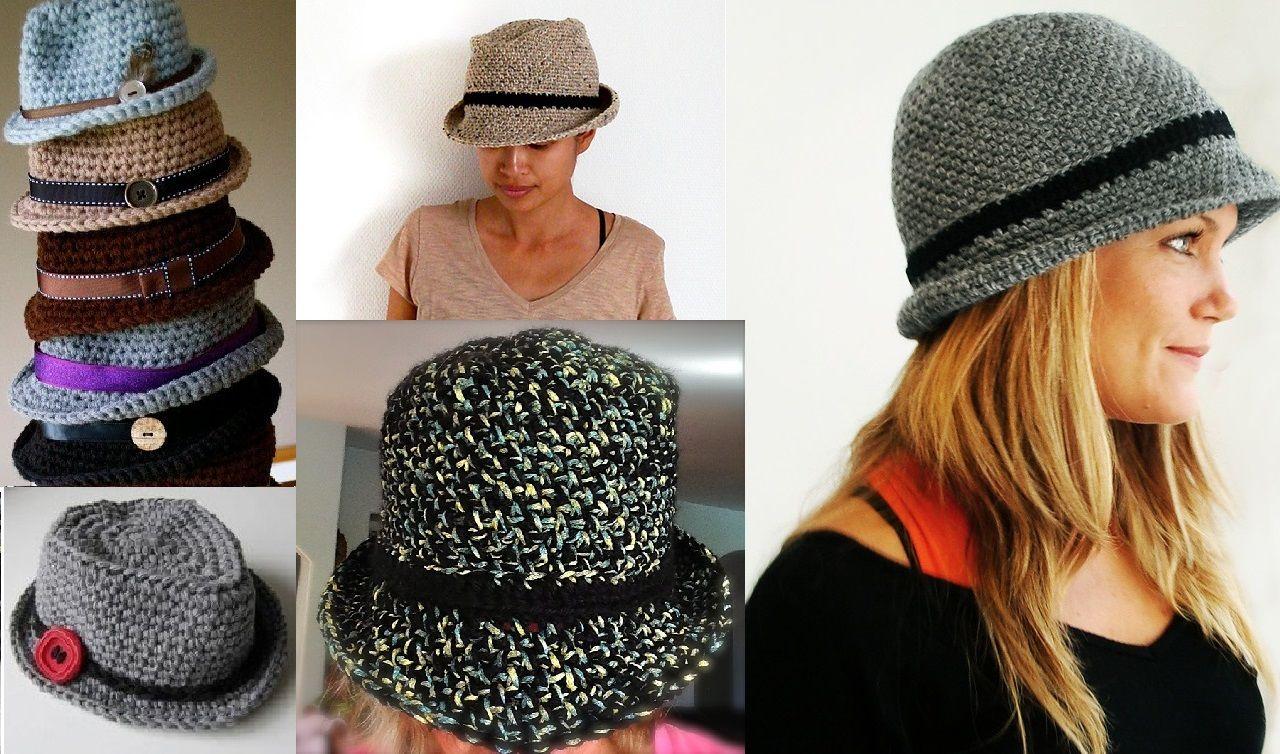 Contemporáneo Sombrero Con Ala Patrón De Crochet Colección de ...