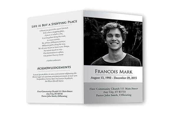 Funeral Program Black  White Creativework  Brochure Design