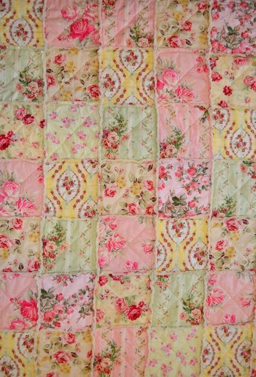 Chic Rag Quilt, Reserved for TKateri, Summer Rose Garden, pink, green, yellow, & soft red with ivory colored backing Shabby Chic Rag Quilt, Reserved for TKateri, Summer Rose Garden, pink, green, yellow, & soft red with ivory colored backing.Shabby Chic Rag Quilt, Reserved for TKateri, Summer Rose Garden, pink, green, yellow, & soft red with ivory colored backing.