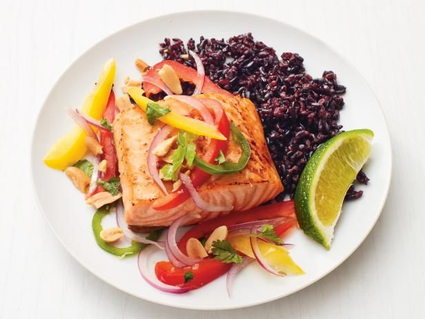 Salmon with thai vegetables and black rice recipe black rice get salmon with thai vegetables and black rice recipe from food network forumfinder Images