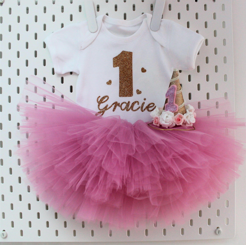 Luxury Girls First 1st Birthday Tutu Skirt Outfit Rose Gold Dusky Cake Smash Set