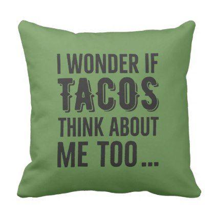 Throw Pillow Wonder Tacos Thinking