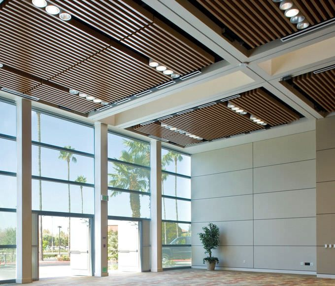wood slat ceiling ideas - Wood panel for suspended ceiling chainlink BARZ