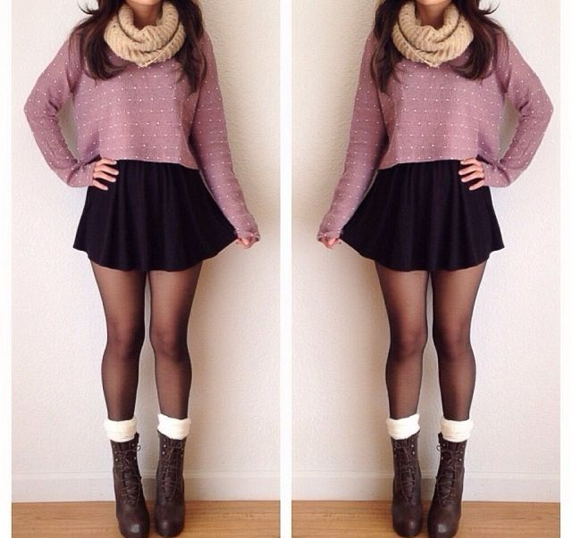 Cute outfit,black skirt, cropped sweater, loop scarf, tights, boots and  socks. Perfect for winter or fall