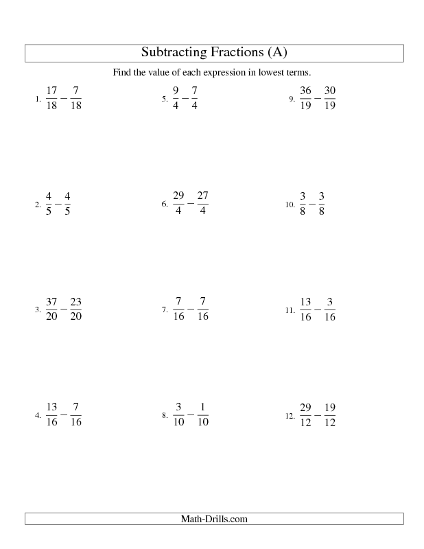 Fractions Worksheet -- Subtracting Fractions with Like Denominators ...