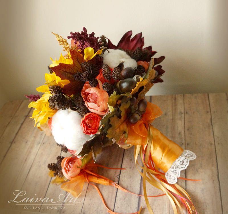 Sunflower Fall Wedding Bouquet Bridal Bouquets Orange Brooch