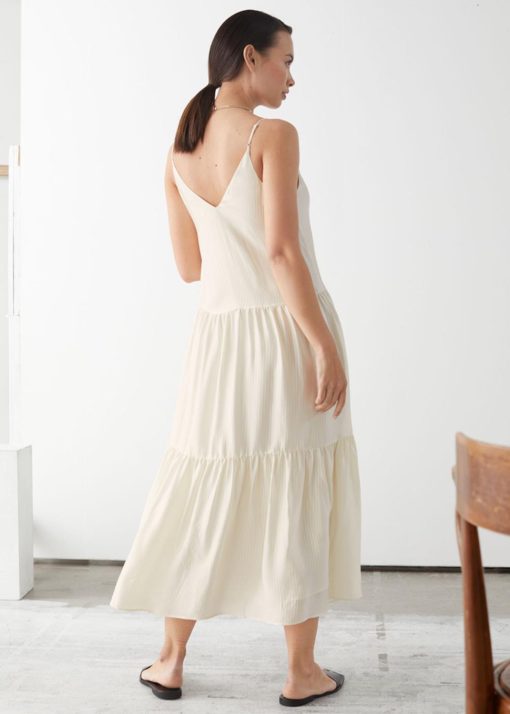 Tiered Viscose Midi Dress Midi Dress Dresses V Neck Midi Dress [ 1400 x 1000 Pixel ]