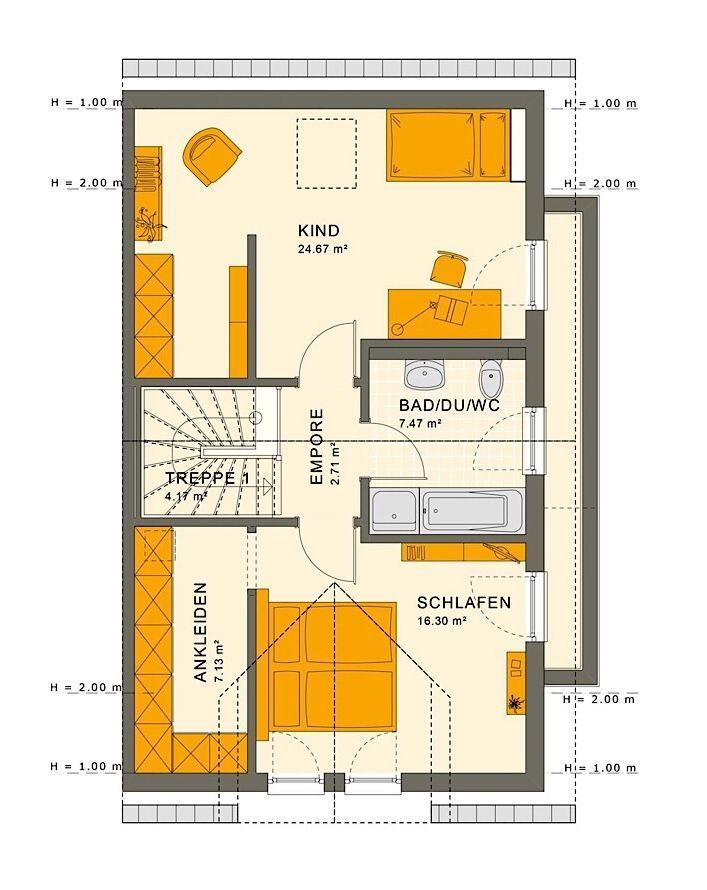 Doppelhaushälfte Grundriss Obergeschoss mit Satteldach