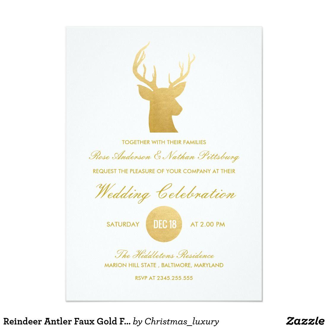 Reindeer Antler Faux Gold Foil Winter Wedding Wedding