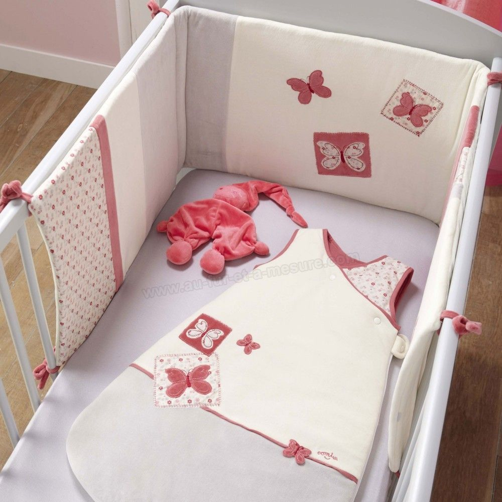 Tour de lit adaptable bebe fille collection butterfly for Collection chambre bebe garcon