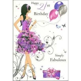 Birthday Card Happy 21st Cards Ladies Happiess Birthdays Fashion Design Simply Fabulous Purple Dress Balloons Gift Butterfly White Background Funny