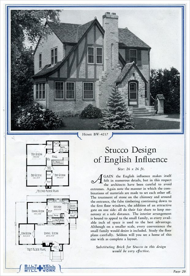 Stucco English Half Timbered Cottage Bilt Well Catalog No 42 House Plans Tudor House Vintage House Plans