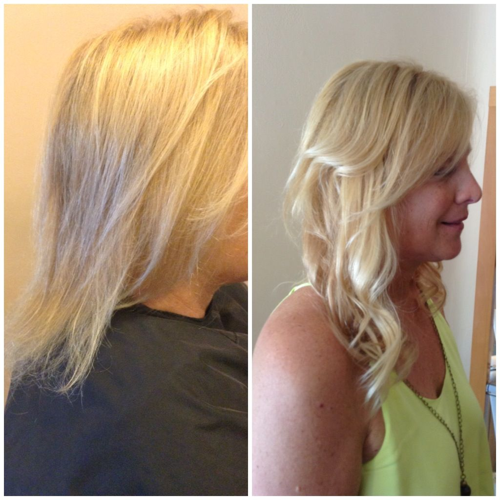 Color and Full head of perfectress hair extensions half