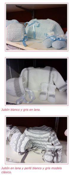 Saquitos de recién nacido en gris y blanco!!! Wal! Que moderno!! Me encanta
