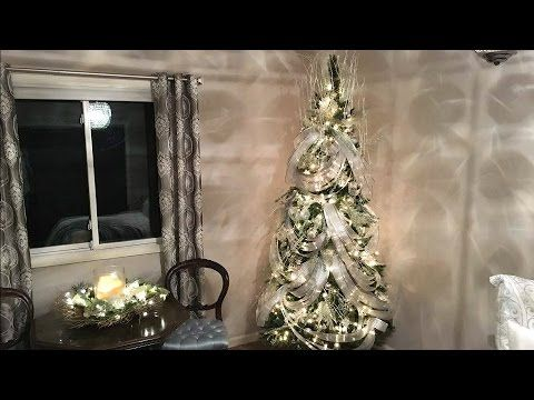 wave ribbon christmas tree decorating tutorial how to ribbon technique holiday decorating - How To Decorate A Christmas Tree Youtube