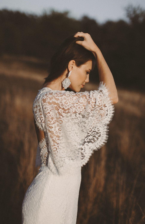 Boho Brautkleid Rückenausschnitt Vintage Hochzeitskleid Spitze