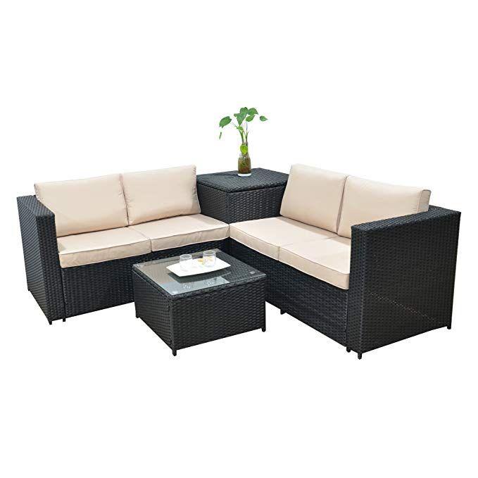 Amazon.de: Jalano Poly Rattan Lounge SM1 Set Gartenmöbel