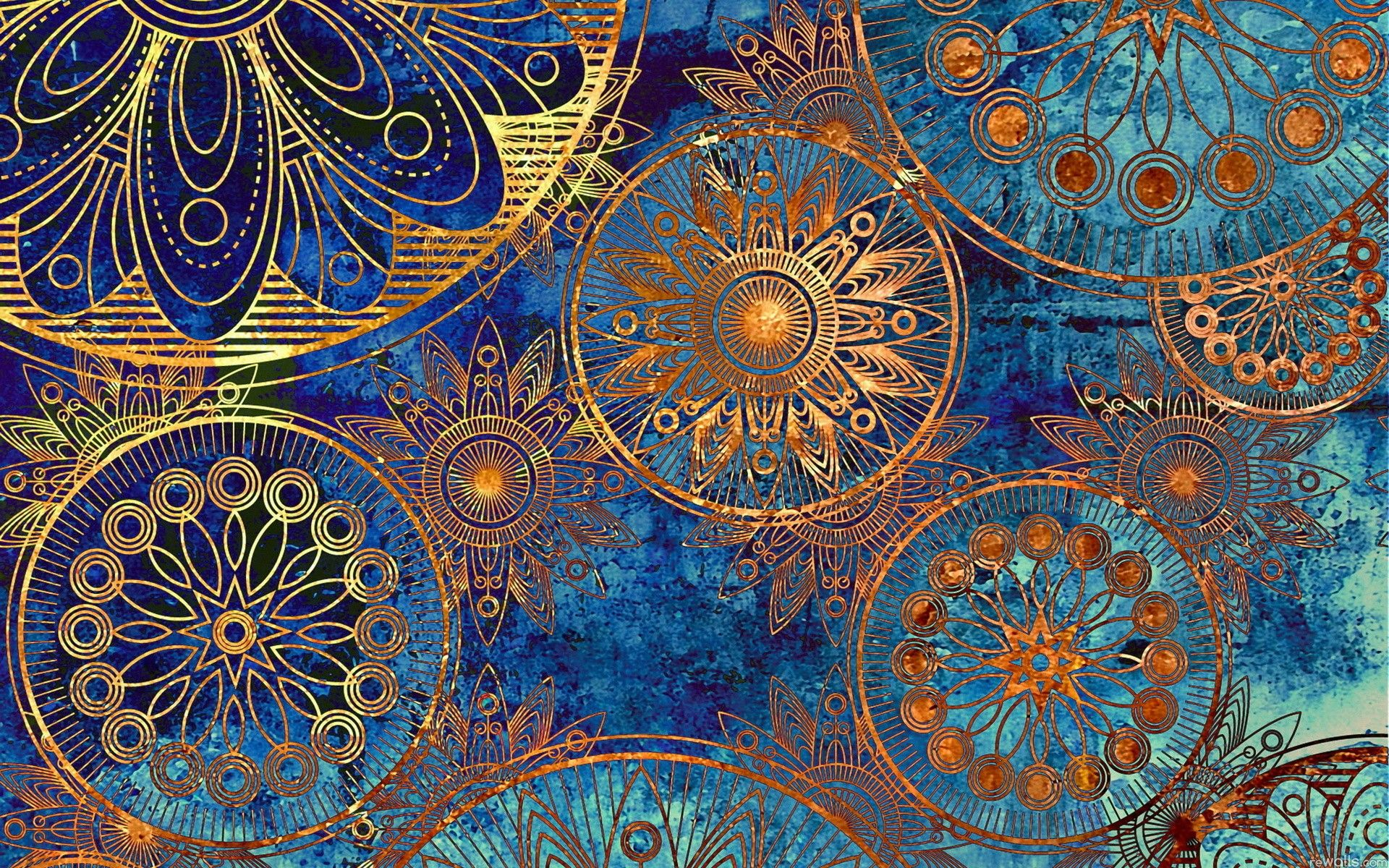absolutely heart this blue gold vintage pattern desktop wallpaper
