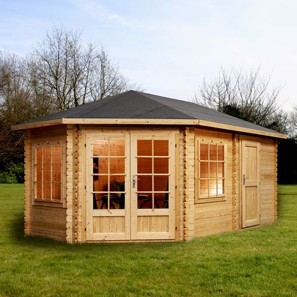 5m x 3m waltons left sided greenacre lodge plus corner log cabin
