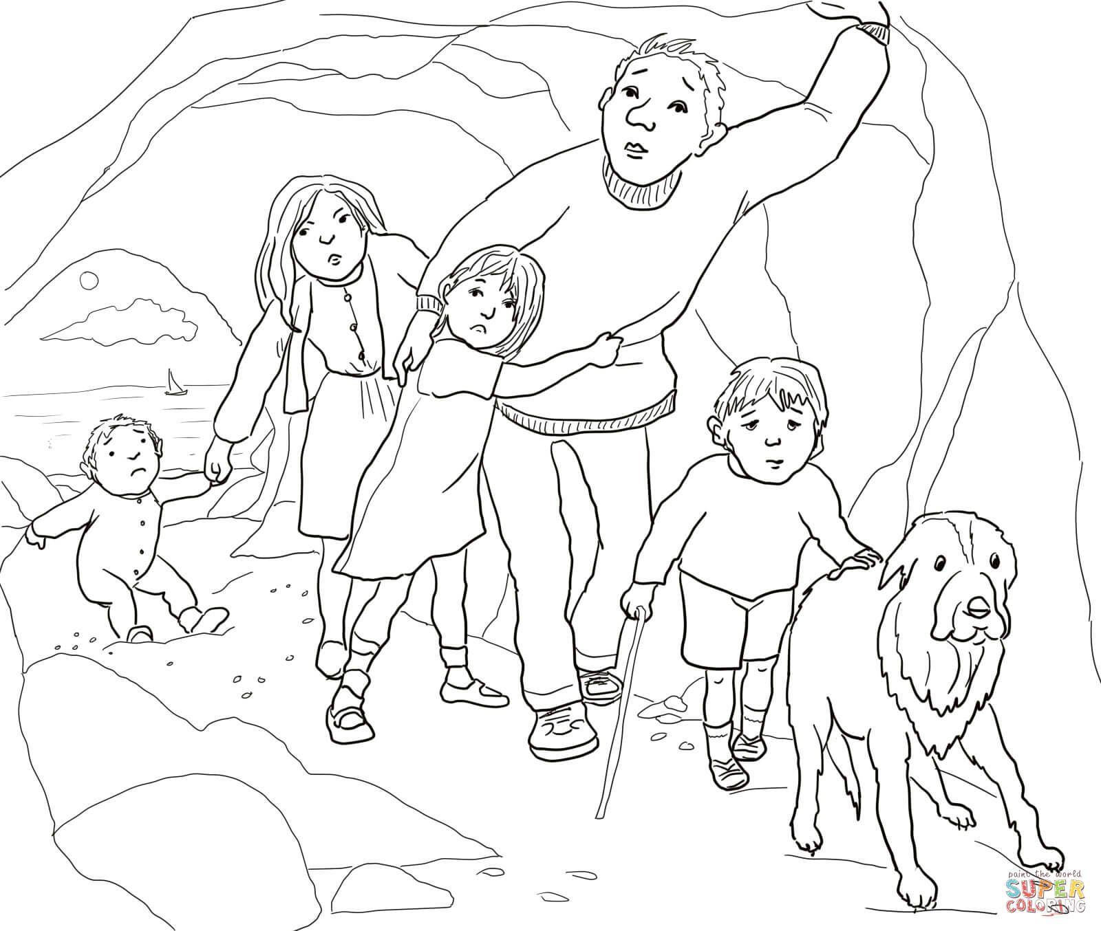A Narrow Gloomy Cave Coloring Page Free Printable Coloring Pages