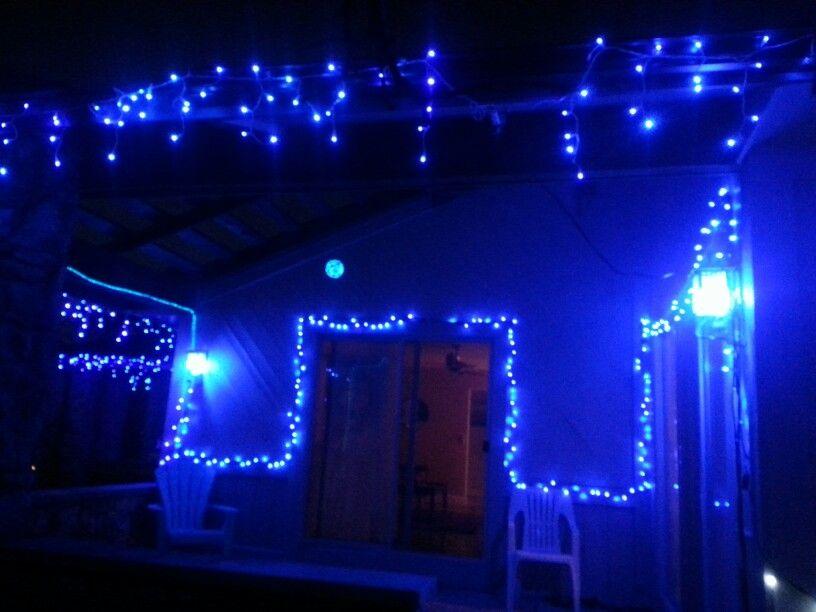 Blue Christmas porch lights