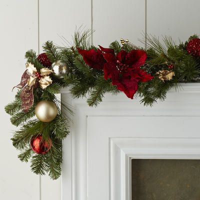Faux Poinsettia Garland - Royal Red