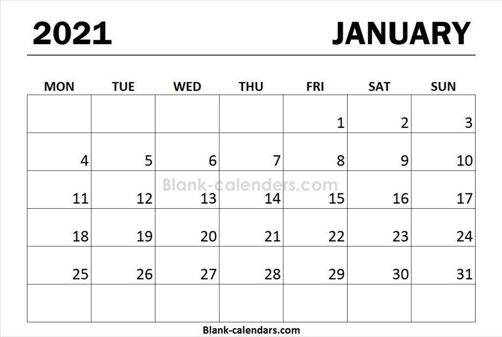 Print Calendar 2021 January Monday Start Print Calendar January Calendar Calendar 2020