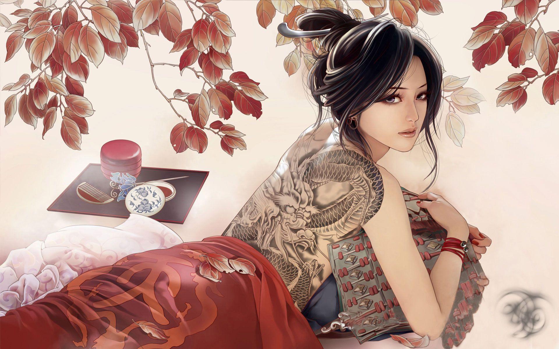 3d Femme Japonaise Avec Du Papier Peint De Tatouage Sous La Forme D