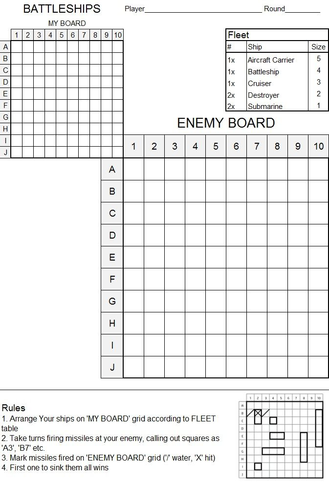 Battleship Game Template English Worksheet You Sunk My Battleship