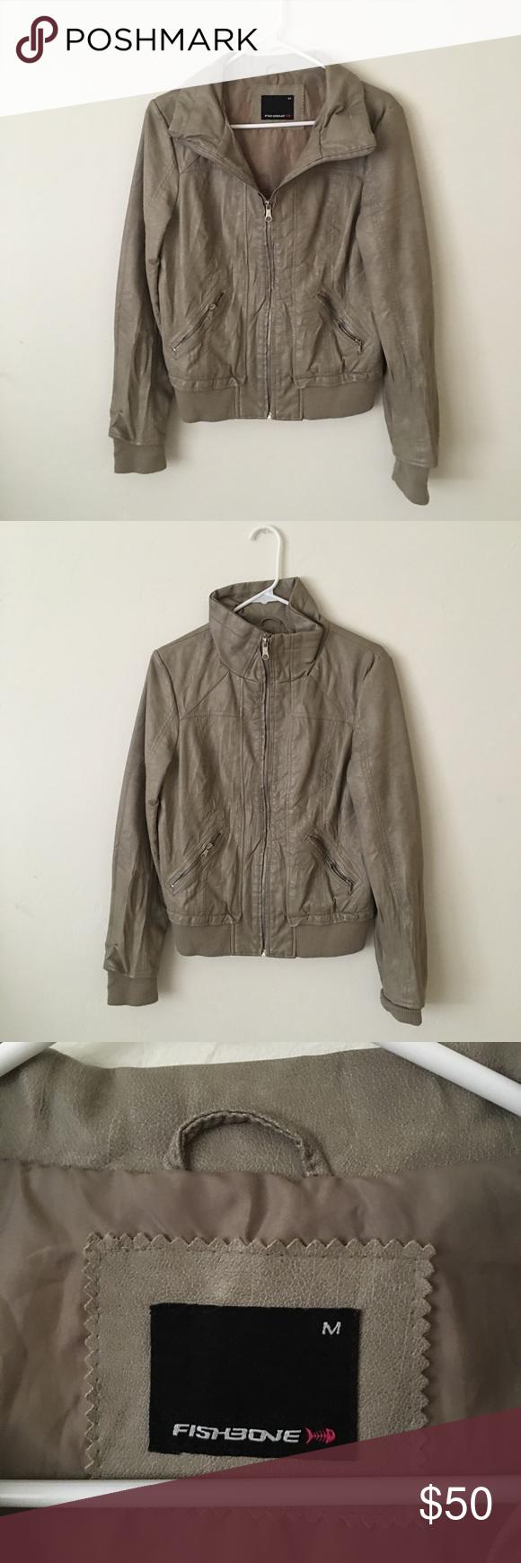 Leather jacket europe - New Yorker Fishbone Faux Leather Jacket Beige