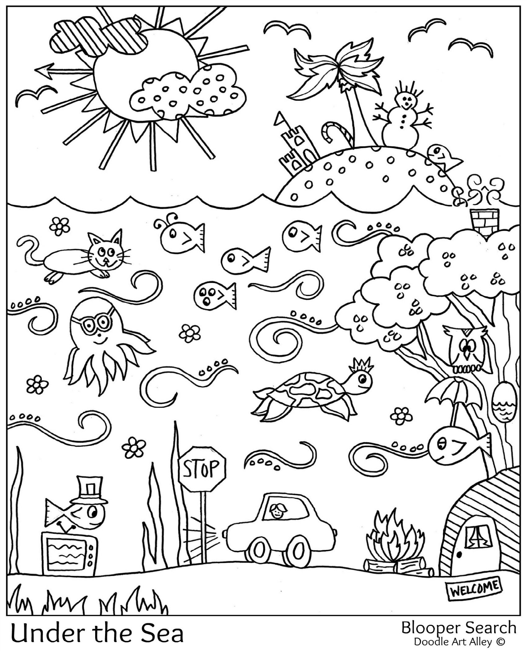 Kindergarten Coloring Pages Patterns Coloring Pages Under The Sea Doodle