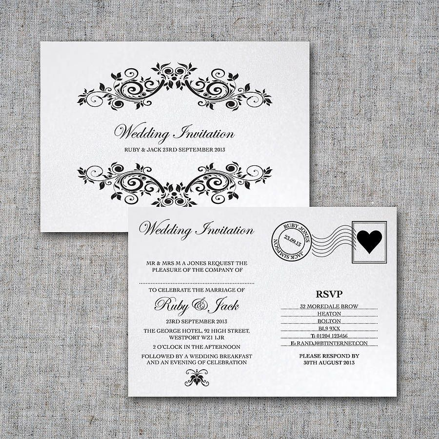 Personalised Postcard Wedding Invitation By Intwine  Not On