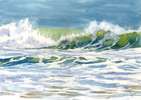 Crete De Vague Giclee Peinture Aquarelle Aquarelle Et Mer Aquarelle