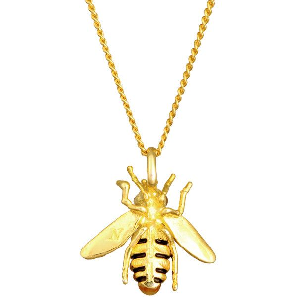 Les Néréides Bumble Bee Necklace ($78) ❤ liked on Polyvore featuring jewelry, necklaces, bee jewelry, ribbon necklace, bee necklace, pendant jewelry and mint jewelry