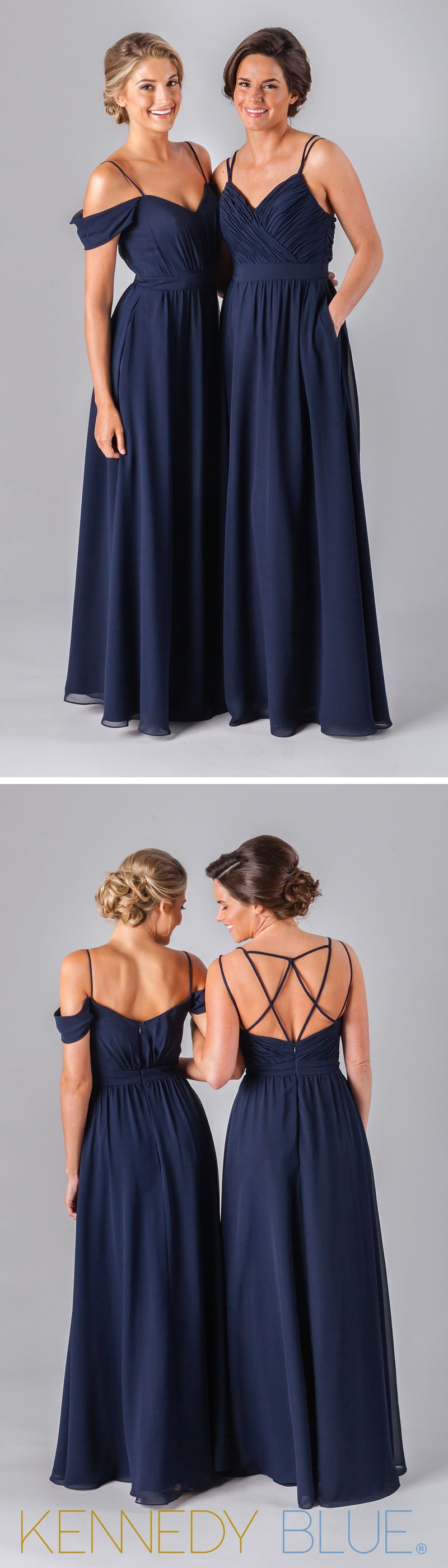 Mix and match chiffon bridesmaid dresses in navy from the Fall 2016 collection.