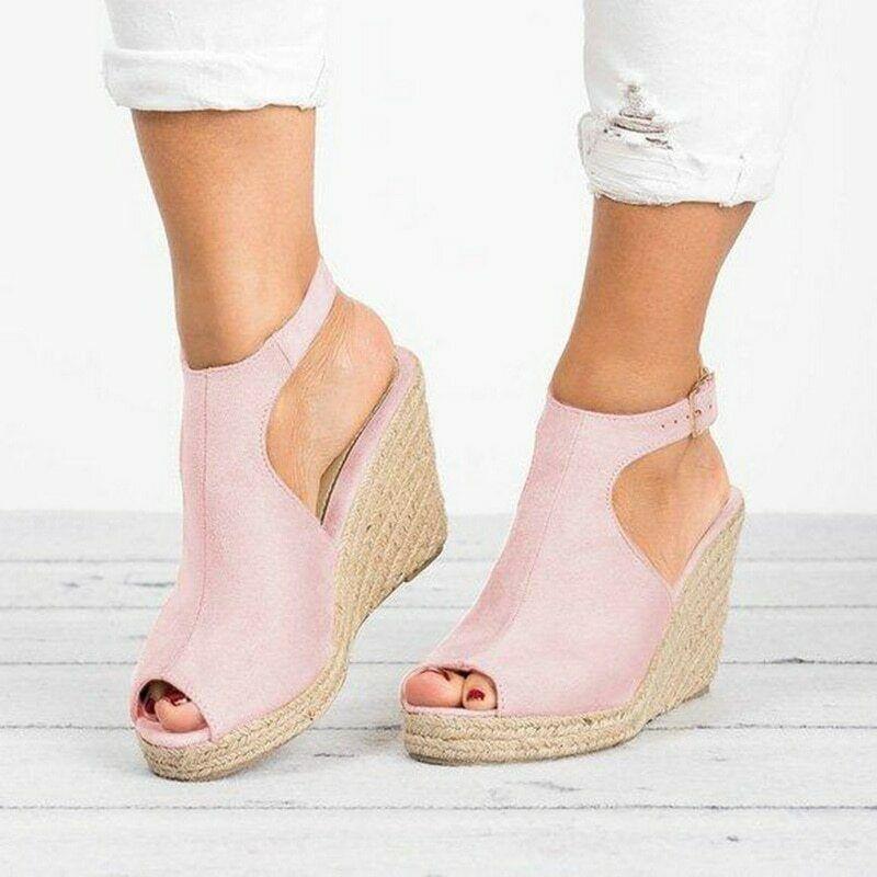 Women's Wedge Heel Pink Peep Toe