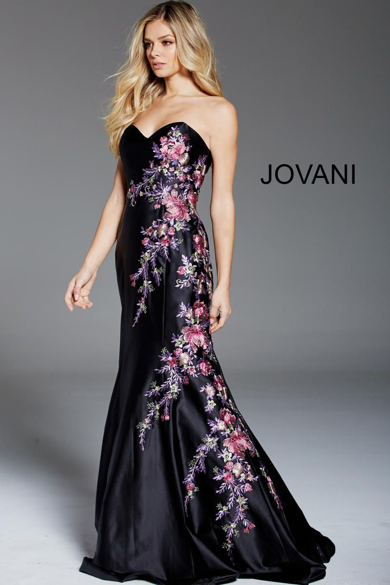 Jovani floral embroidered gown prom pinterest strapless