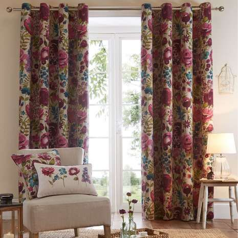 Dunelm Floral Soft Cream And Purple Misty Meadow
