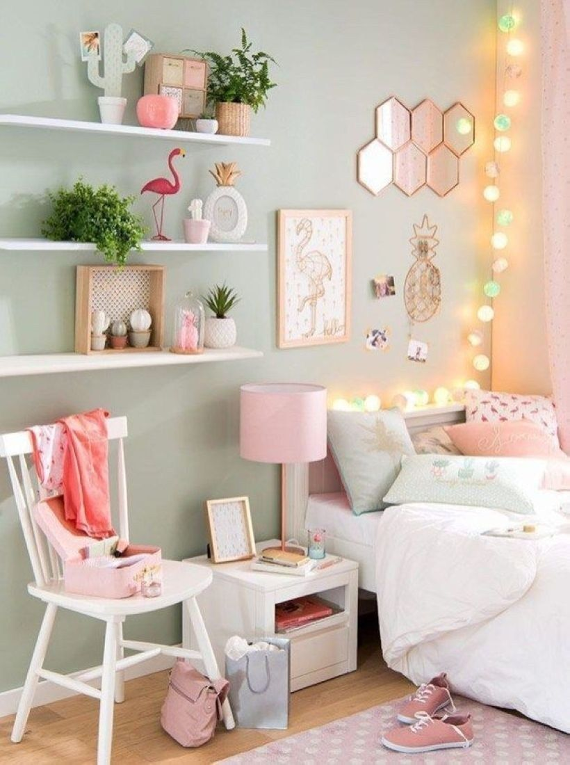 44 Cozy Teen Bedroom Decoration on Pink Style images