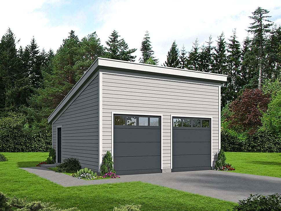 Modern Style 2 Car Garage Plan Number 51608 Garage plans
