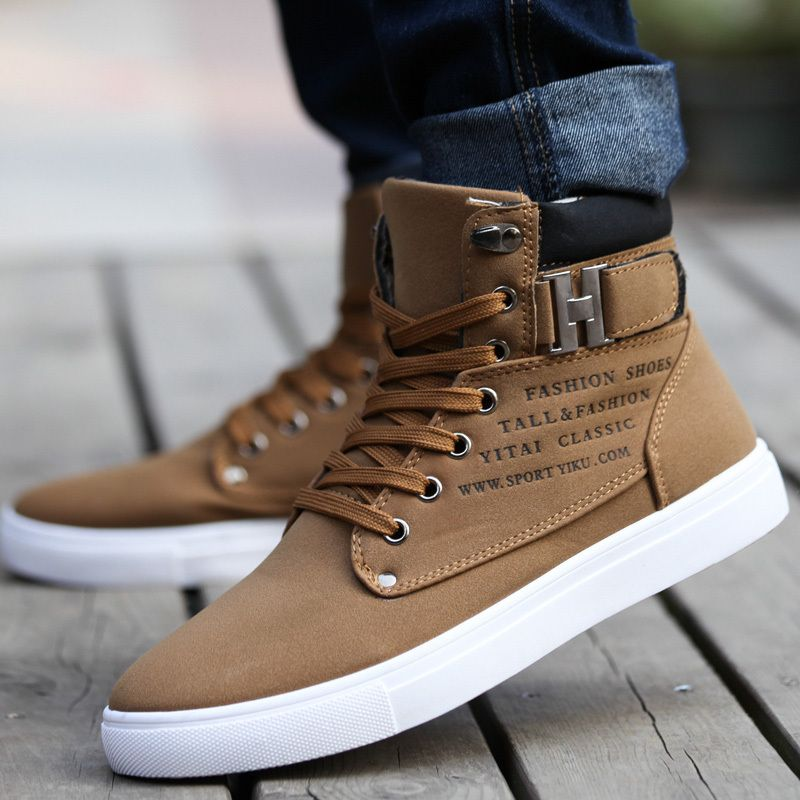 2014 New Zapatos de Hombre Mens Fashion Spring Autumn Leather Shoes Street  Men's Casual Fashion High Top Shoes Canvas Sneakers - Brown Nice shoes.