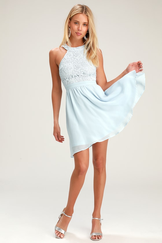 aefa8a58068 Cute Light Blue Dress - Lace Dress - Halter Skater Dress