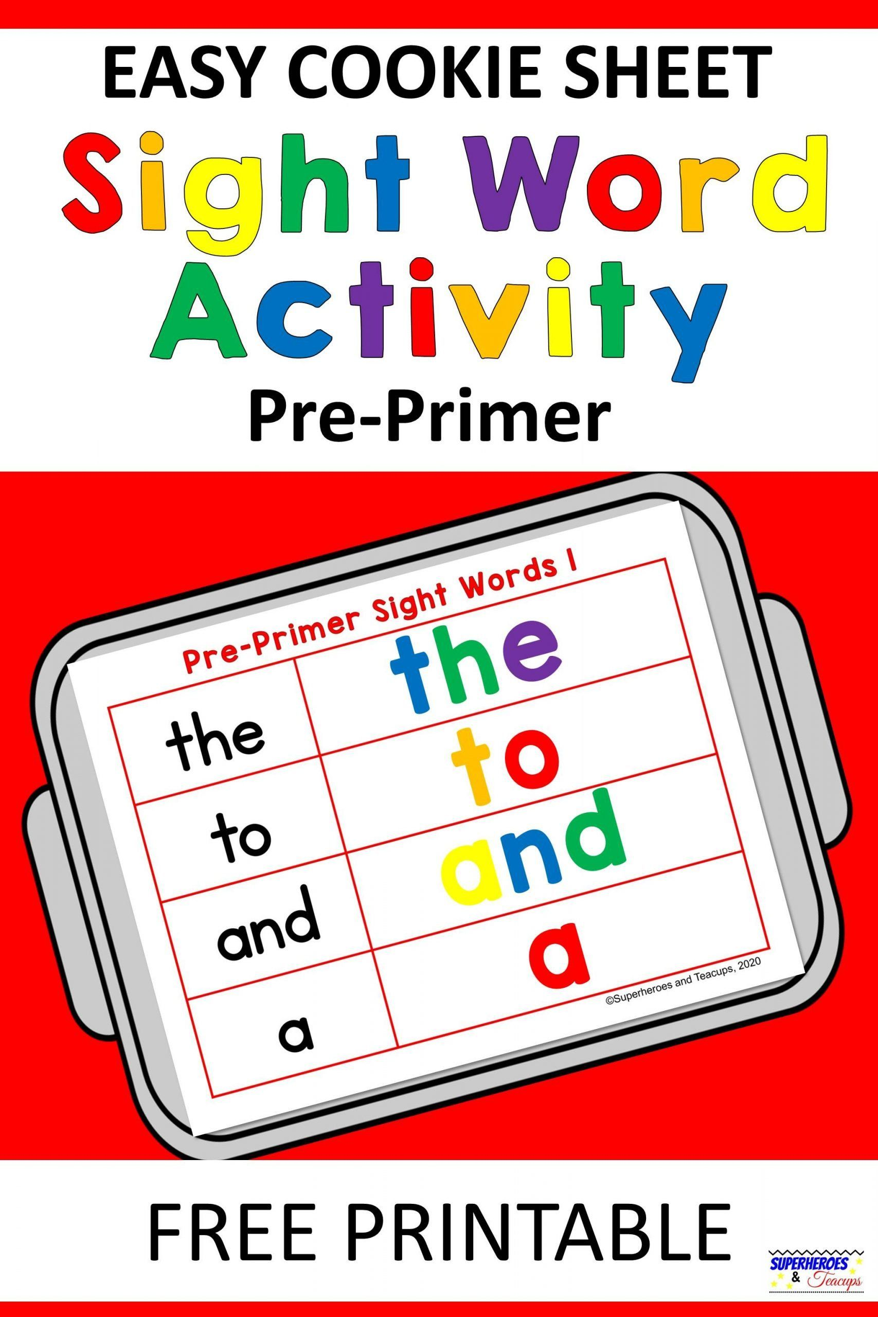Easy Cookie Sheet Pre Primer Sight Word Activity