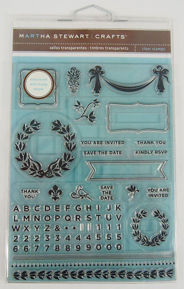 Martha Stewart Transparent Stamp Set Laurel Thank You RSVP Save Date Brand New MarthaStewart