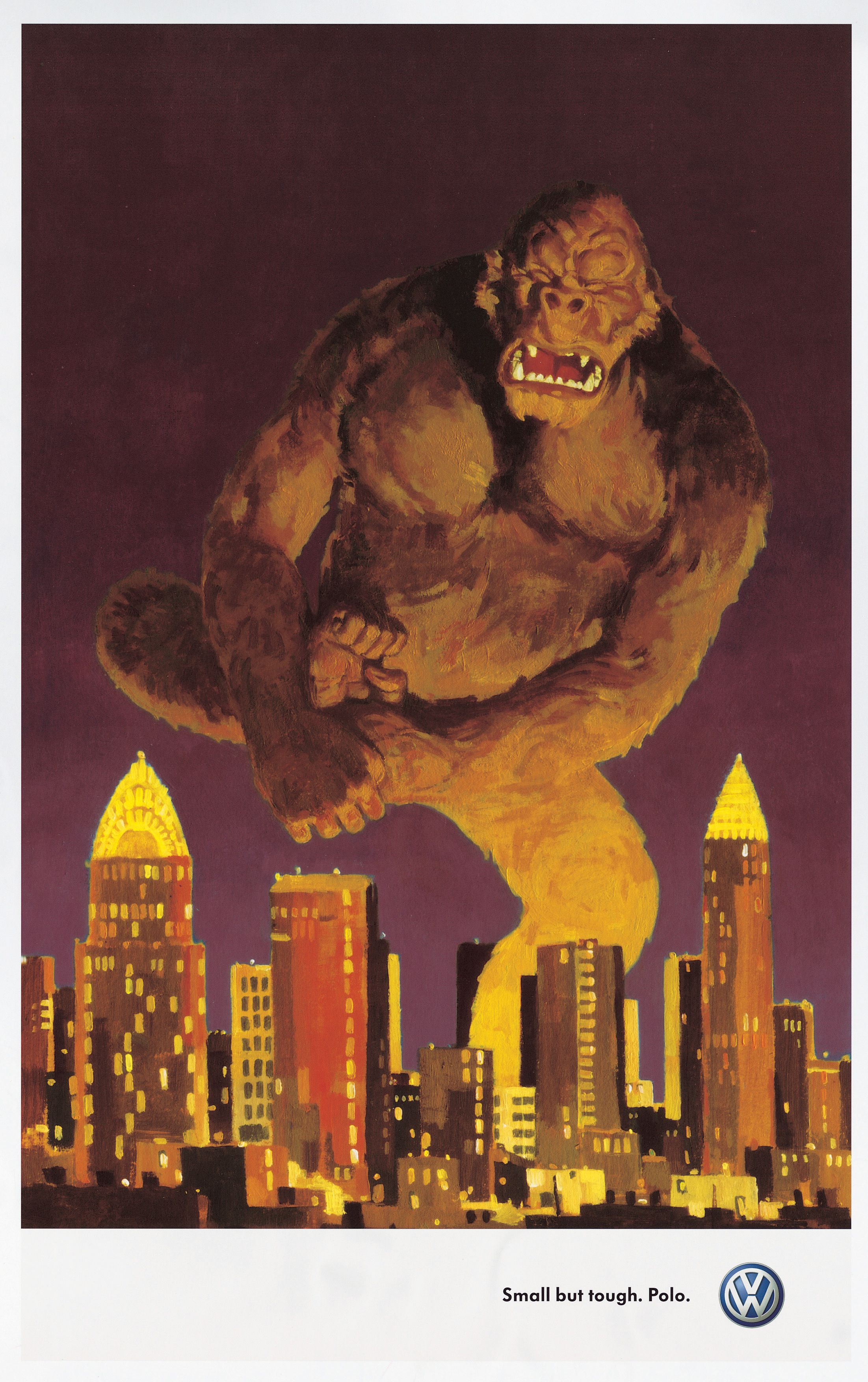King kong advertisement for Volkswagen Polo. Small but Tough. Nice vintage illustration