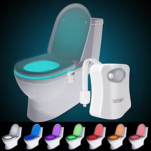 Websun Motion Activated Toilet Night Light 8 Color Changing Led
