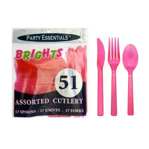 Amazon Com Northwest Enterprises Plastic Cutlery Assortment And Knives Forks Spoons Neon Pink 17 Pl Party Supplies Australia Party Cutlery Party Decor Shop