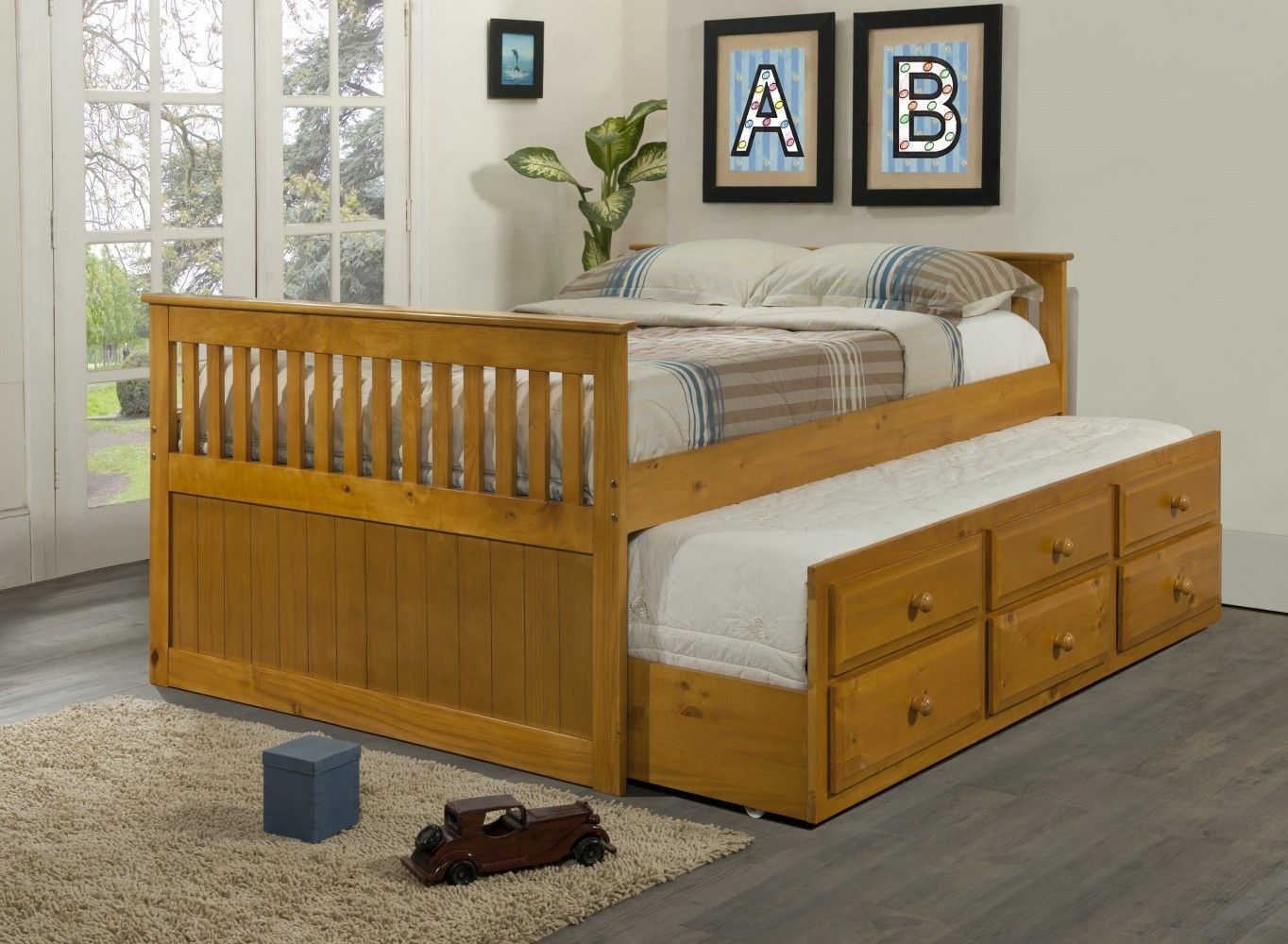 Full Size Captains Beds Trundle bed with storage, Kids