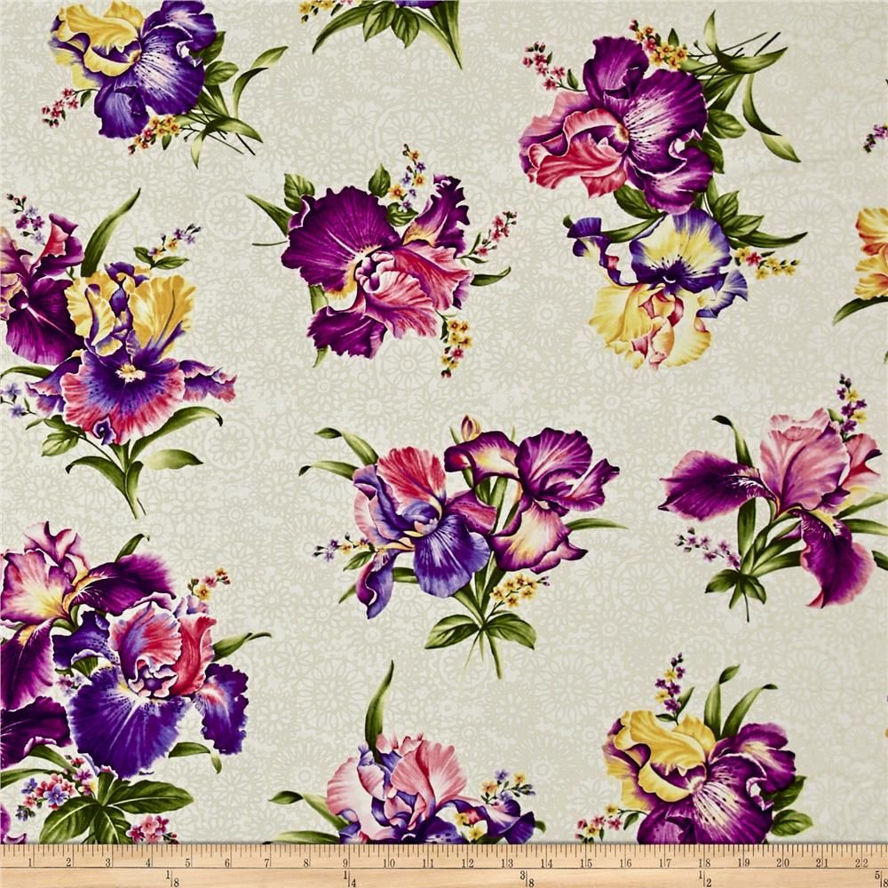 Irresistible Iris Irresistible Iris Cream Multi Purple Flower Background Purple Wallpaper Printing On Fabric